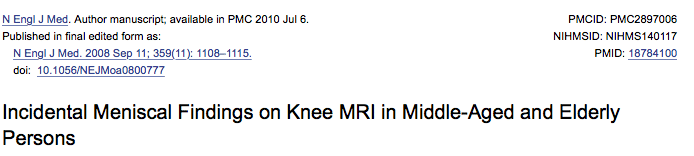 MRI changes in knees