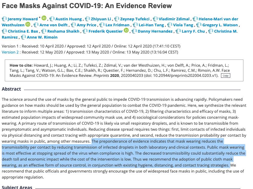 Masks prevent the spread of COVID19