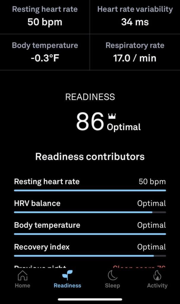 Oura Ring HRV data for health